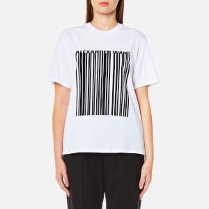 Alexander Wang Women's Boxy Crew Neck Bonded Barcode T-Shirt - Eggshell