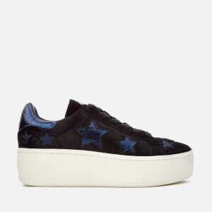 Ash Women's Cult Star Pony Hair Flatform Trainers - Black/Midnight