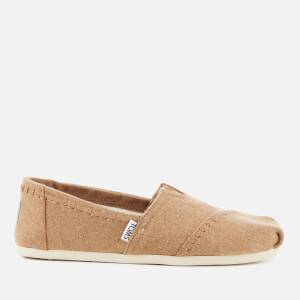 TOMS Women's Seasonal Classic Wool/Faux Shearling Lined Slip On Pumps - Toffee