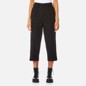 MM6 Maison Margiela Women's Felt Wool Pinstripe Trousers - Black Pinstripe