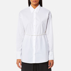 MM6 Maison Margiela Women's Parachute Poplin Shirt with Tie Pearls - White
