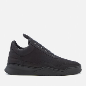 Filling Pieces Men's Ghost Perforated Suede Low Top Trainers - All Black
