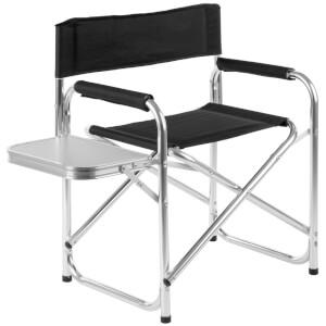 Premier Housewares Folding Garden Chair with Shelf - Black