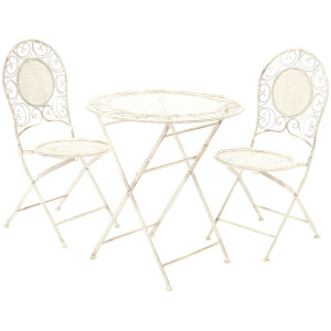 Finchwood Jardin Antique Wrought Iron Table Set - (3 Piece) Cream