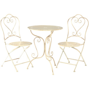 Finchwood Jardin Antique Wrought Iron Table Set - (3 Piece) Antique Cream