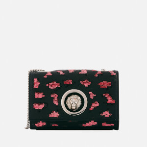 Versus Versace Women's Lion Leopard Sequin Small Chain Clutch Bag - Red/Black