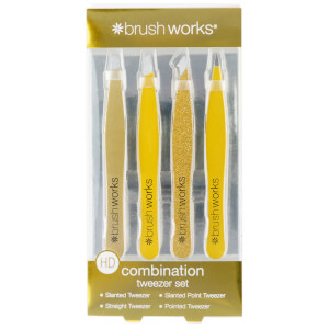 brushworks HD Combination Tweezer Set - Gold