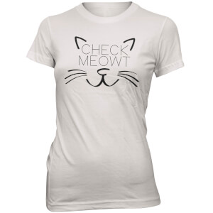 T-Shirt Check Meowt -Blanc