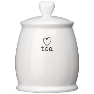 Premier Housewares Charm Tea Canister - White Dolomite