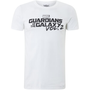Marvel Männer Guardians of the Galaxy Vol. 2 Schwarz Logo T-Shirt - Weiß