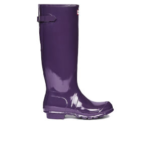 Hunter Women's Back Adjustable Gloss Wellies - Dark Plum