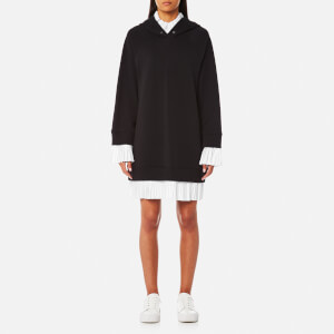 MM6 Maison Margiela Women's Oversized Hooded Dress with Contrast Frill - Black/White