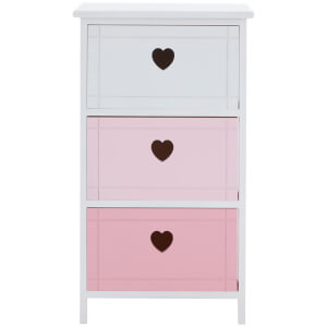 Premier Housewares Olivia 3 Drawer Chest - Pink Mix