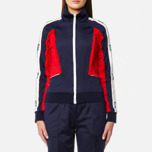 MSGM Women's Zip Through Frill Sport Top - Navy