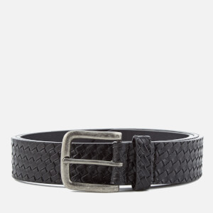 Ben Sherman Men's Bonded Leather Weave Embossed Belt - Black