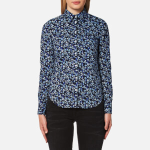 GANT Women's Stretch Broadcloth Mini Floral Shirt - Marine