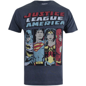 DC Comics Men's Justice League Line Up T-Shirt - Charcoal Marl