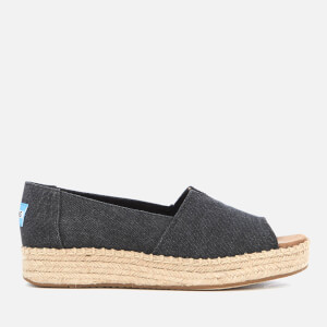 TOMS Women's Open Toe Alpagarta Platform Espadrilles - Black Washed Canvas