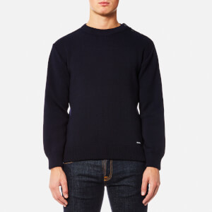Armor Lux Men's Button Shoulder Knitted Jumper - Navire