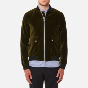 Oliver Spencer Men's Bermondsey Velvet Bomber Jacket - Olive Green
