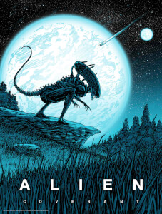 Alien: Covenant GITD Screenprint by Barry Blankenship - Zavvi Exclusive