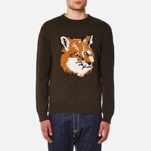Maison Kitsuné Men's Fox Head Pullover Jumper - Khaki
