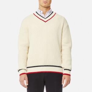 Maison Kitsuné Men's V-Neck Pullover Jumper - Ecru
