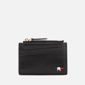 Maison Kitsuné Men's Tricolor Zipped Leather Card Holder - Black