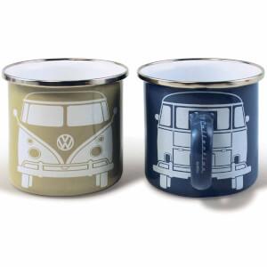 Lot De 2 Tasses À Café Collection VW + Boîte Cadeau -Beige/Gris