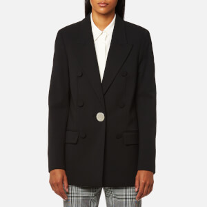 Alexander Wang Women's Single Breasted Peaked Lapel Jacket with Leather Sleeve - Black