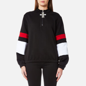 MSGM Women's Zip Up Logo Contrast Sweatshirt - Black/White/Red
