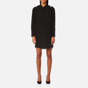 Alexander Wang Women's Shirt Dress with Off The Shoulder Button Detail - Black