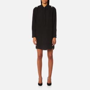Alexander Wang Women's Shirt Dress with Off The Shoulder Button Detail - Black