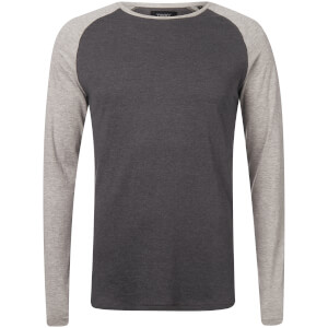 Troy Men's Alvin Raglen Long Sleeve T-Shirt - Light Grey Marl