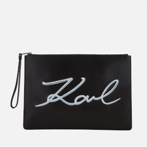 Karl Lagerfeld Women's K/Metal Signature Pouch Bag - Black/White