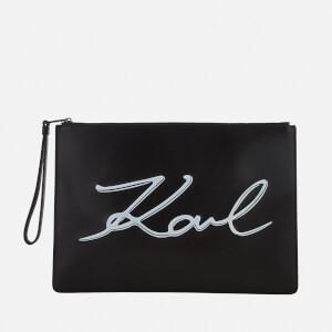 Karl Lagerfeld Women's K/Metal Signature Pouch Bag - Black/White