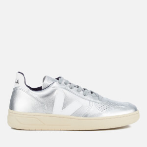 Veja Women's V-10 Leather Trainers - Silver