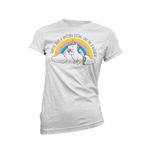 Happier Than A Unicorn Eating Cake On A Rainbow Women's White T-Shirt