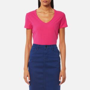 Tommy Hilfiger Women's Lizzy V Neck Short Sleeve Top - Magenta