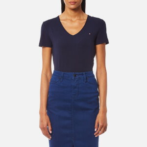 Tommy Hilfiger Women's Lizzy V Neck Short Sleeve Top - Peacoat