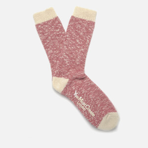 YMC Men's Slub Boot Socks - Red/Ecru