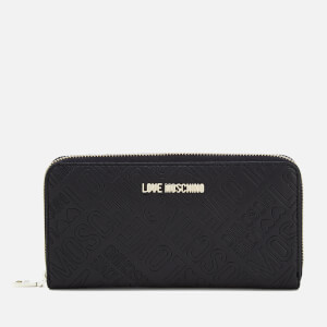 Love Moschino Women's Embossed Logo Zip Around Purse - Black
