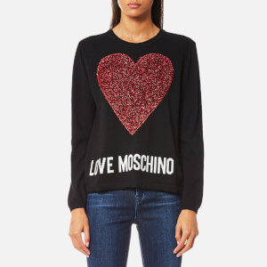 Love Moschino Women's Large Textured Heart Jumper - Black