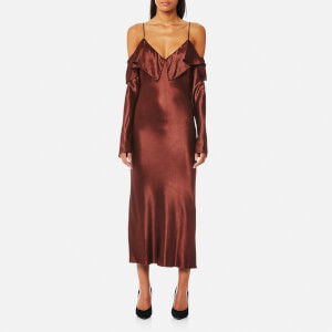 Bec & Bridge Women's Liquid Envy Flounce Midi Dress - Mahogany