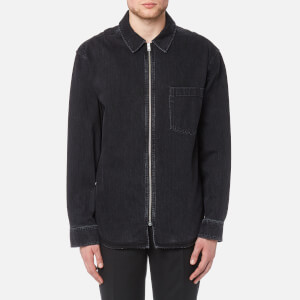 Alexander Wang Men's Black Denim Zip Front Shirt - Black