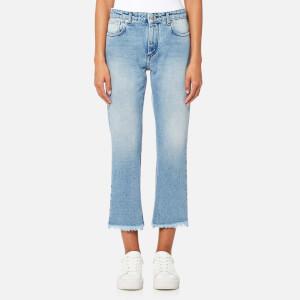 MSGM Women's Cropped Logo Back Jeans - Blue