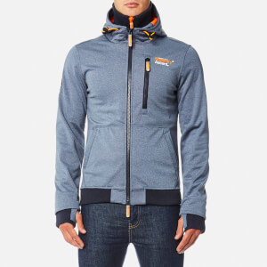 Superdry Men's Ascent Zip Hoody - Total Eclipse Marl/Fluro Orange