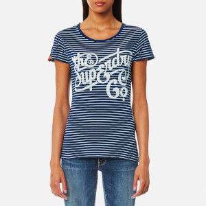 Superdry Women's The Super Co Indigo Stripe T-Shirt - Marine
