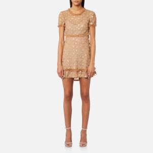 For Love & Lemons Women's Golden Garden Tulle Mini Dress - Gold
