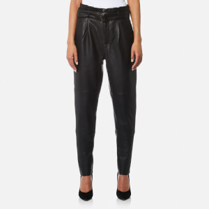 Gestuz Women's Beth High Waisted Leather Trousers - Black